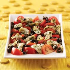 * Artichoke Tomato Salad: tomato, (Himalayan Pink) salt, pepper, marinated artichoke hearts (we get them @ Costco), black olives, parsley, (balsamic) vinegar, garlic