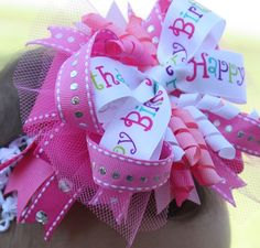 Pink Birthday Boutique Hair Bow with Tulle attached to by rose8380, $10.00
