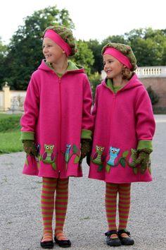 Eulen Mantel, Pink Dots on Green Haube & Fäustlinge ♥ Herzilein Wien ♥ #herzileinwien