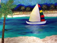 """Safe Harbor 14"""" x 18""""  (Acrylic with textured sand beaches)- to Jim Michie's Mom"""