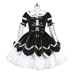 AvaLolita Aristocratic Black and White Lace Collar Lolita One-Piece, Customized