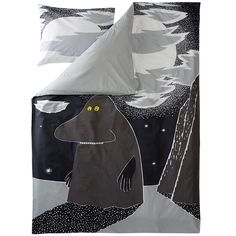 New Groke duvet cover set by Finlayson presents the lonely Groke in a stylish grey colour. Delightful details make this bed linen set a truly beautiful addition to your bedroom. The Finlayson fabric is cotton.Size: Duvet cover 150 x 210 cm Moomin Shop, Moomin Mugs, Tove Jansson, Bedding Websites, Childrens Beds, Bed Linen Sets, Grey Flooring, Floors, Marimekko