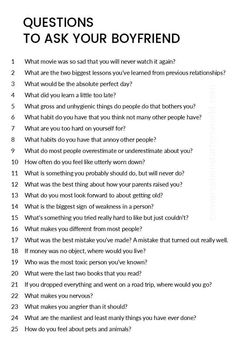 A great list of questions to ask your boyfriend! Claire Girolt A great list of questions to ask your boyfriend! A great list of questions to ask your boyfriend! Cute Relationships, Healthy Relationships, Relationship Tips, Marriage Tips, Relationship Questions Game, Boyfriend Quotes Relationships, Distance Relationship Quotes, Being In A Relationship, Ldr Quotes Boyfriends