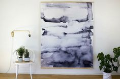 Large water-colour wallhanging.
