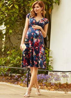 Queen Bee Alessandra Floral Maternity Dress in Midnight Garden by Tiffany Rose