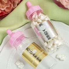 Add a touch of glitz to your baby girl's event with fun baby bottle favors that are personalized with an exclusive metallic gold or metallic silver customized label.