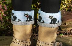 Knitted lambswool boot topper or cuff with cat design £12.00