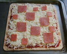 Square Pizzas, it looks like Minecraft cake!