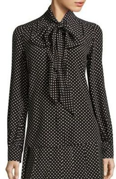 """Marc Jacobs Polka-Dot Silk Tie-Neck Blouse by Marc Jacobs  Marc Jacobs Polka-Dot Silk Tie-Neck Blouse by Marc Jacobs  Available Colors: Black-Cream  Available Sizes: 4 6 8  DetailsFemme necktie elevates timeless polka-dot silk blouse. Tie neckline. Long sleeves. Button cuffs. Button front. About 25"""" from shoulder to hem. Silk. Dry clean. Imported. Model shown is 5'10"""" (177cm) wearing US size 4."""