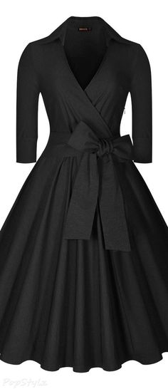 Miusol deep-v neck half sleeve vintage classic swing dress vintage black dresses, plus Vestidos Vintage, Vintage Dresses, Vintage Outfits, Vintage Fashion, Moda Vintage, Vintage Mode, Vintage Black, Swing Dress, Dress Skirt