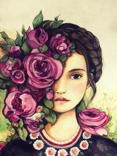empowerment, art print ,woman artwork, portrait artwork ,claudia tremblay spring is coming Art print drawing love portrait artwork claudia tremblay Claudia Tremblay, L'art Du Portrait, Medium Art, Women Empowerment, Female Art, Art Girl, Watercolor Paintings, Artwork, Art Drawings