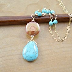 Turquoise & Pearl Necklace  Turquoise Teardrop by MariStarDesigns, $42.00