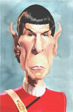 """Caricature of Leonard Nimoy as Mr. Spock from """"Star Trek"""". Funny Caricatures, Celebrity Caricatures, Celebrity Drawings, Cartoon Faces, Funny Faces, Cartoon Art, Leonard Nimoy, Star Trek Tos, Star Wars"""