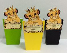 6 Adorable Lion King Favor BoxesSimba Loot by LoveToFiesta on Etsy Lion Birthday Party, Lion King Birthday, Baby First Birthday, 1st Birthday Parties, Birthday Ideas, Lion King Theme, Lion King Party, Baby Shower Decorations For Boys, Boy Baby Shower Themes