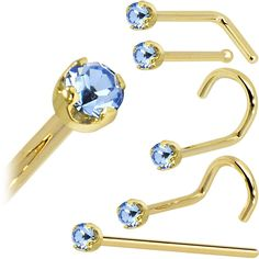 Solid 14KT Yellow Gold 2mm Light Blue Cubic Zirconia Nose Ring
