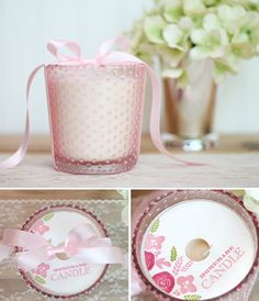 Design Inspired: DIY Beaded Glass Gifts - damask love . . . love the stamped circle piece on top of the candle . . . ribbon provides a nice finishing touch