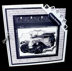 Classic car 7x7 card mini kit on Craftsuprint designed by Angela Wake - made by Diane Hitchcox - I printed out onto 220 gram card and mounted on a corner punched card ,decoupaged using sticky pads and attached a silver elasticated bow down spine. - Now available for download!