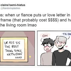 Part 2 to the comic I posted yesterday LOL. I s2g victor has a collection of them at home haha  #yurionice #victuuri  #yuurikatsuki #victuri #randomsplashes #victornikiforov