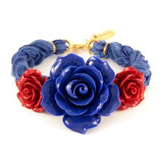 Blue and Red Floral Bracelet on Blue Vintage Ribbon ($45) ❤ liked on Polyvore featuring jewelry, bracelets, accessories, blue, red, vintage red jewelry, vintage bangles, red jewelry, red jewellery and ribbon jewelry