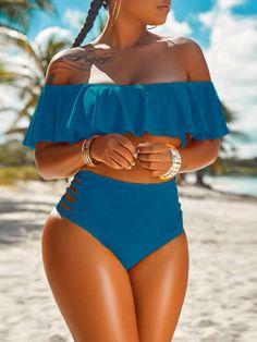 Ruffles Ladder Cut Out Bikini Set Shop- Women's Best Online Shopping - Offering Huge Discounts on Dresses, Lingerie , Jumpsuits , Swimwear, Tops and More. Baby Swimwear, Trendy Swimwear, Cute Swimsuits, Swimwear Fashion, Women Swimsuits, Vintage Underwear, Trend Fashion, Latest Fashion, Fashion Wigs