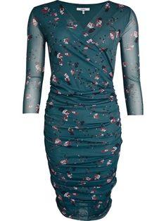 Olivet mesh draperet kjole