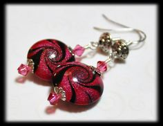 Handmade Beaded Jewelry Earrings Polymer Clay Beads Hot Pink Fuchsia Black Silver Swirl Spiral Crystal Lightweight...Raspberry Truffle via Etsy