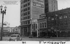 https://flic.kr/p/uwjK49 | Washington Ave. South-100 block-at Michigan Ave.-South-East corner-1936-11-15-Lansing, MI