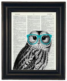 BOGO 1/2 OFF Owl Print Owl With Glasses Owl Art Print Owl Decor Owl