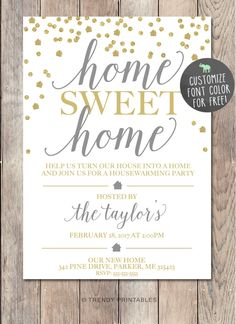 Housewarming Invitation Home Sweet Home New House Invite Couples