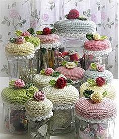 Jar Lid Cozies: #free #crochet #pattern