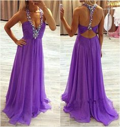 Long Prom Dress,Sleeveless Backless Chiffon with Crystal A-line