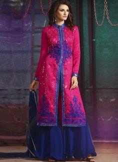 Magenta Pink Blue Embroidery Work Silk  Georgette Designer Palazzo Pakistani Suit http://www.angelnx.com/Salwar-Kameez