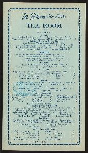 November 21, 1906, Menu from THE WANAMAKER STORE TEA ROOM, from The New York Public Library's historical menu collection