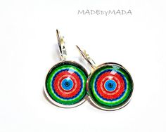 Red and green Leverback earrings Manadalas by MADEbyMADA on Etsy
