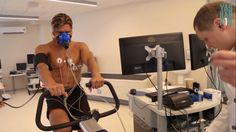 Russian bodybuilding athlete Dmitry Yashankin undergoing full metabolic evaluation (rest & exercise)