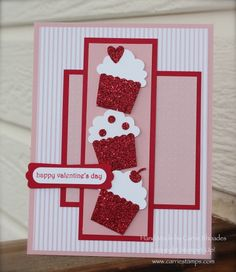 Cupcakes for birthday, or replace the cup cakes with hearts for Valentines Day Valentines Day Cards Handmade, Greeting Cards Handmade, Cricut Cards, Stampin Up Cards, Ideas Paso A Paso, Punch Art Cards, Creative Cards, Creative Food, Paper Cards