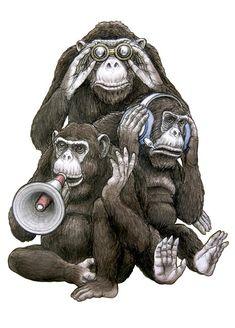 ✯ See, Hear, Say Everything . By ~Puttbill✯ Gravure Illustration, Illustration Art, Tomer Hanuka, Pop Art, Gorilla Tattoo, Three Wise Monkeys, Monkey Tattoos, Satirical Illustrations, Lord Ganesha Paintings