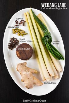 Ingredients to prepare wedang jahe: ginger, palm sugar, lemongrass, pandan leaf, whole black peppercorns, cardamom, cloves.