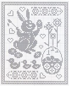Filet Crochet Charts, Crochet Motif, Crochet Doilies, Crochet Stitches, Cross Stitch Embroidery, Cross Stitch Patterns, Easter Crochet Patterns, Fillet Crochet, Holiday Crochet