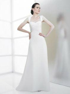 Chiffon A-line Sweetheart With Wide Straps Neckline Wedding Dress
