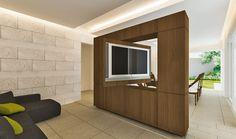 Sala de TV y comedor...el mueble permite ver la TV desde los dos espacios.