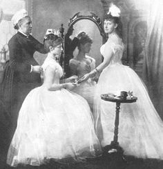 Princess Alix of Hesse, the future wife of Nicolas II of Russia, preparing for her first ball, late 1800s