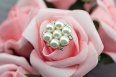5 White Pearl Rhinestone Gold Embellishments - Flat Back Buttons - Wedding Decorations for Invitation Flower Pin Cake Bouquet Jewelry 240001