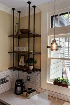 Pipe wood shelves hung upside down -Kitchen Cabinet alternatives-East Grand Rapids Kitchen Remodel industrial kitchen. Love the pipe shelves. Brought to you by LG Studio Vintage Industrial Furniture, Industrial House, Kitchen Industrial, Vintage Wood, Industrial Design, Industrial Style, Industrial Lamps, Industrial Shelving Diy, Vintage Shelving