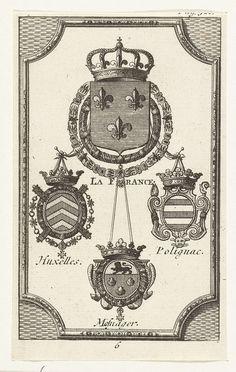 Anonymous   Wapens van de gevolmachtigden van Frankrijk bij de vredesonderhandelingen te Utrecht (nr. 6), 1712-1713, Anonymous, 1713   Wapens van de gevolmachtigden van Frankrijk. Blad nummer 6 in een groep van 16 prenten met de wapens en namen van de gevolmachtigden bij de vredesonderhandelingen te Utrecht, 1712-1713.