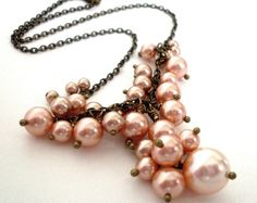 Peach pearl cluster necklace  crystal pearl by ArtfulTrinkets1