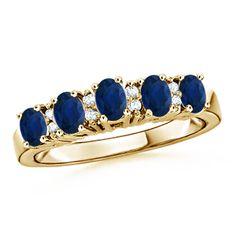 Oval Sapphire and Round Diamond Five Stone Ring #Angara
