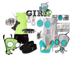"""GIR from Invader Zim"" by likeghostsinthesnow ❤ liked on Polyvore featuring Individuality Beads, Nomadic, Alessi, Marc by Marc Jacobs, Merona, TIBI, Michael Antonio, FOSSIL, rag & bone and TOMS"
