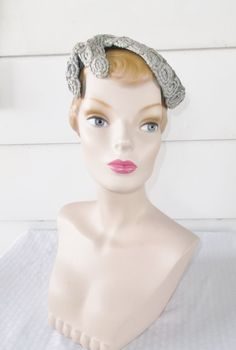 1950s Vintage Gray Beaded Cocktail Hat by MyVintageHatShop on Etsy