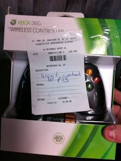 Xbox 360 Controller Return Receipt